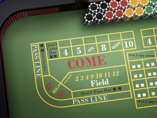 craps table in online casino