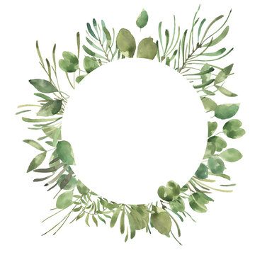 Leafy Leaf. Green watercolor flowers and florals geometric frame #1