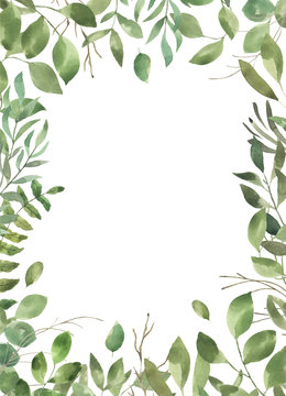 Leafy Leaf. Green watercolor flowers and florals geometric frame #4
