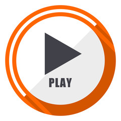 Play video flat design vector web icon. Round orange internet button isolated on white background.