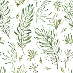 Leafy Leaf. Green watercolor flowers and florals pattern #2