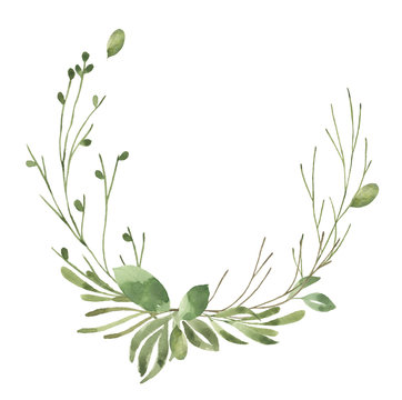 Leafy Leaf. Green watercolor flowers and florals wreath #6