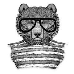 Brown bear Russian bear Hipster style Hand drawn illustration for tattoo, emblem, badge, logo, patch, t-shirt