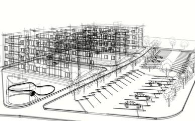 architecture buildings 3d illustration