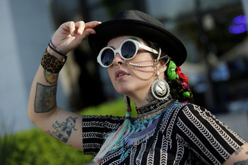 """Gala Lazo Freyman poses for a picture wearing clothes of her creation called """"Mamarracho style"""" (Mess style) in Monterrey"""