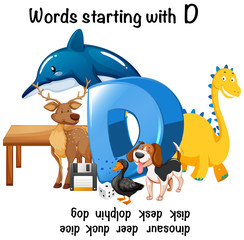 Different words starting with D on white background