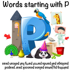 Words starting with P on white background