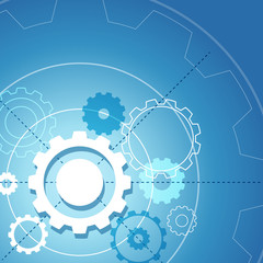 Background template with gears on blue