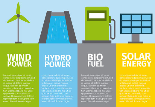 Energy and Ecology Infographic with Illustrations
