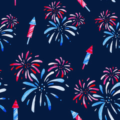 Fireworks festival. Watercolor pattern for holidays, 4th of July, United Stated independence day. Design for print, card, banner