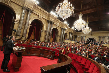 Catalan regional deputy Turull speaks during his investiture session as new Catalan President in Barcelona