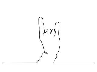 Continuous line drawing. Hand showing sign of horns. Vector illustration