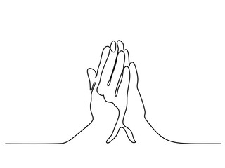 Continuous line drawing. Hands palms together praying. Vector illustration