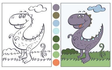 The Merry Dinosaur. Illustration, cartoon, coloring book