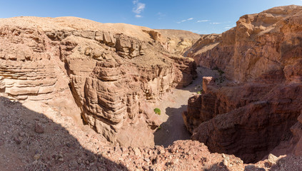 Beautiful geological formation in desert, colorful sandstone canyon walking route