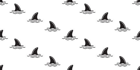 shark fin seamless pattern dolphin isolated vector whale sea ocean wave island beach tropical summer wallpaper background