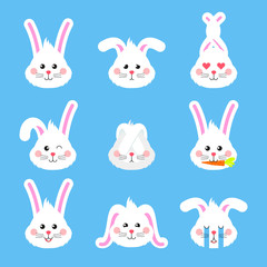 Cute easter rabbit heads emoticons vector. Easter bunny holiday sticker