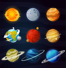 Space planets, asteroid, moon, fantastic cosmic illustration.