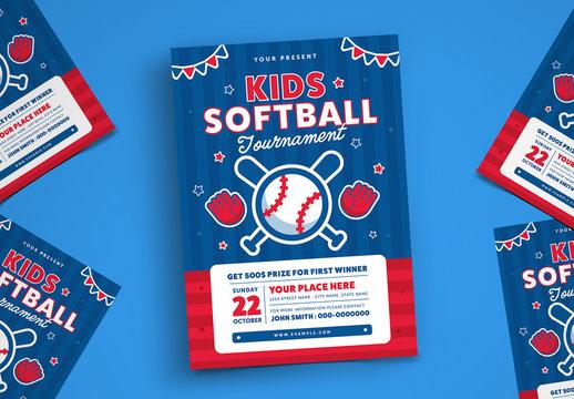 Kids Softball Tournament Flyer Layout