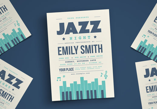 Jazz Night Flyer Layout with Teal Accents