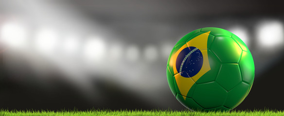Brazil ball. soccer football brazilian ball 3d rendering