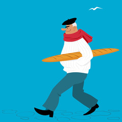 Mature Frenchman cartoon character, carrying a baguette, EPS 8 vector illustration