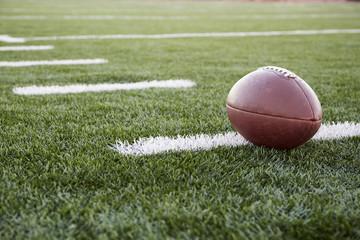 American football ball on green football field