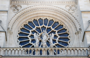 Stained glass windows of Notre Dame cathedral. France. Paris. Architecture of France.