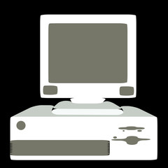 White retro, hipster, antique, old, antique, personal computer with rounded corners on a black background. Vector illustration.