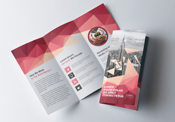 Tri-Fold Brochure Layout with Geometric Accents