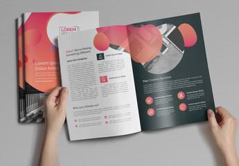 Pink Gradient Bi-Fold Brochure Layout