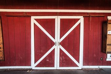 Classic american red  and white barn wooden doors