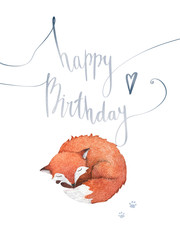Watercolor birthday card with hand lettering, a little sleeping fox and its footprints. Handwritten invitation card isolated on white background.