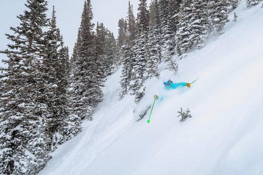 Female Skiing Deep Snow