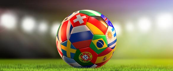 various national flags soccer ball 3d rendering
