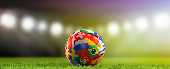 various national flags soccer ball 3d rendering