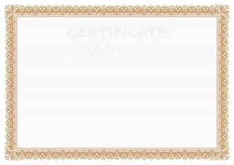 Gold Certificate of Appreciation Border