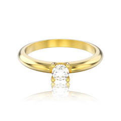 3D illustration isolated yellow gold traditional solitaire engagement diamond ring with reflection