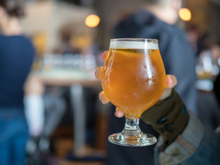 Hand holding a light beer snifter in bar/brewery