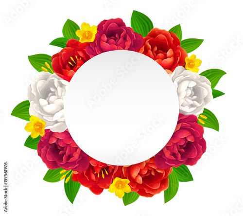 Vector Red Pink And White Flowers Frame With Empty Round Paper