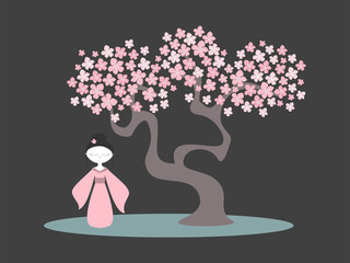Vector illustration of a cherry tree in blossom. Sakura tree, japanese girl. Vector illustration.
