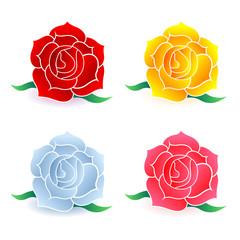 バラ 花 カラフル アイコン