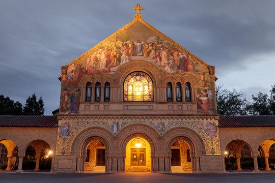 North façade of the Stanford Memorial Church from the Main Quad. Stanford, Santa Clara County, California, USA.