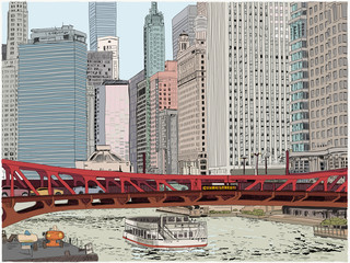 A boat along the Chicago river passes under the Clark Street bridge. Hand drawn illustration. Skyscrapers all around.