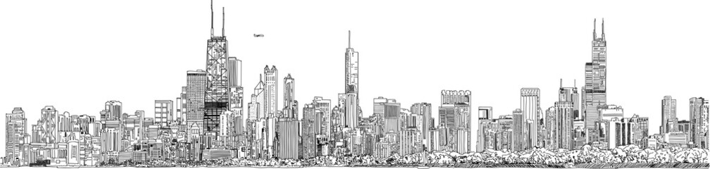 Hand drawn illustration. Panorama of the Chicago skyline. Detailed ink look and feel. Black and white. Wall mural
