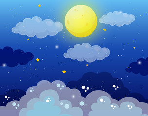 Sky background with fullmoon and stars