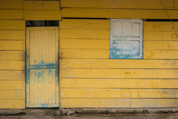 yellow, vintage wooden hut
