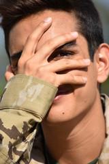 Male Soldier Under Stress