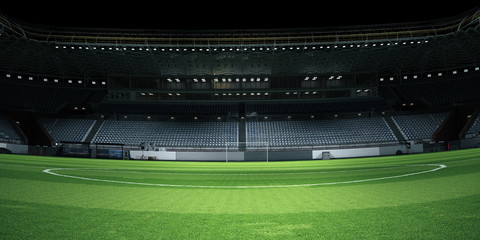 Foggy soccer field . Mixed media Fototapete