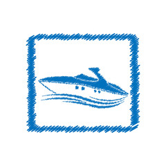 Vector abstract hatched boat in rectangular. Flat design.